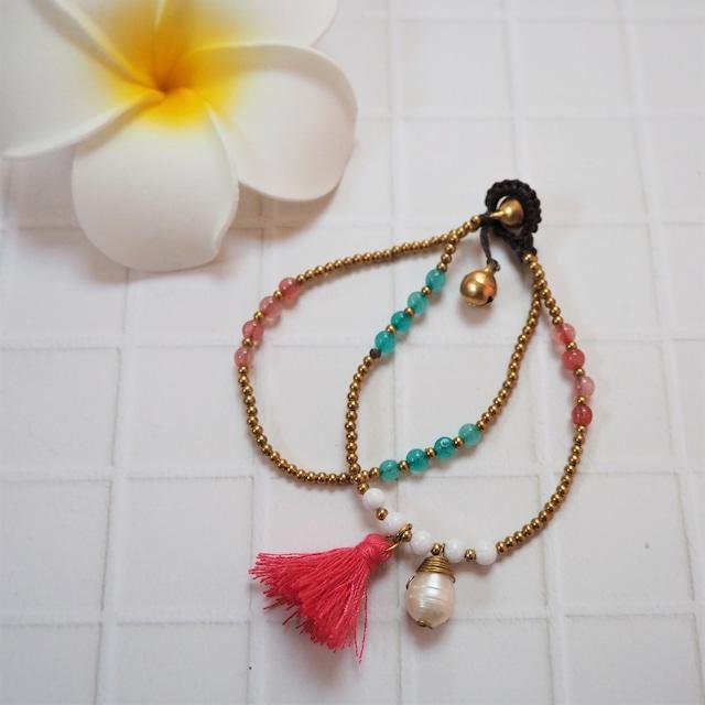 Tussel Pearl 2lined Bracelet《PNK》18385003E