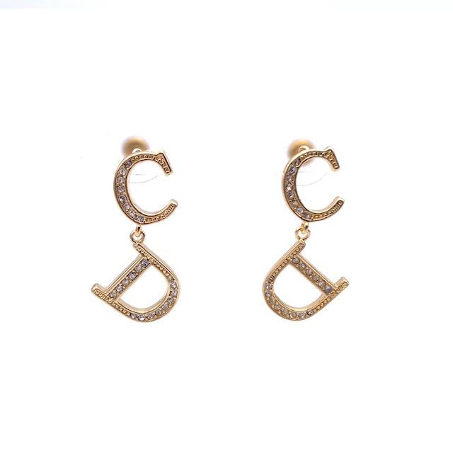 Christian Dior クリスチャン ディオール CDモチーフ ストーン ピアス ゴールド イヤリング vintage ヴィンテージ オールド ng5b2s