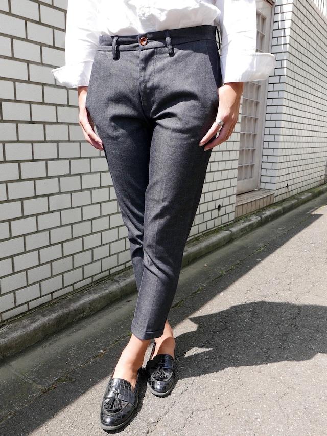 Women  [ CL001 ] 裾W仕様 Denim trouser  indigo ストレッチデニムトラウザーズ  (インディゴ)日本製 岡山製デニム きれいめ濃紺,