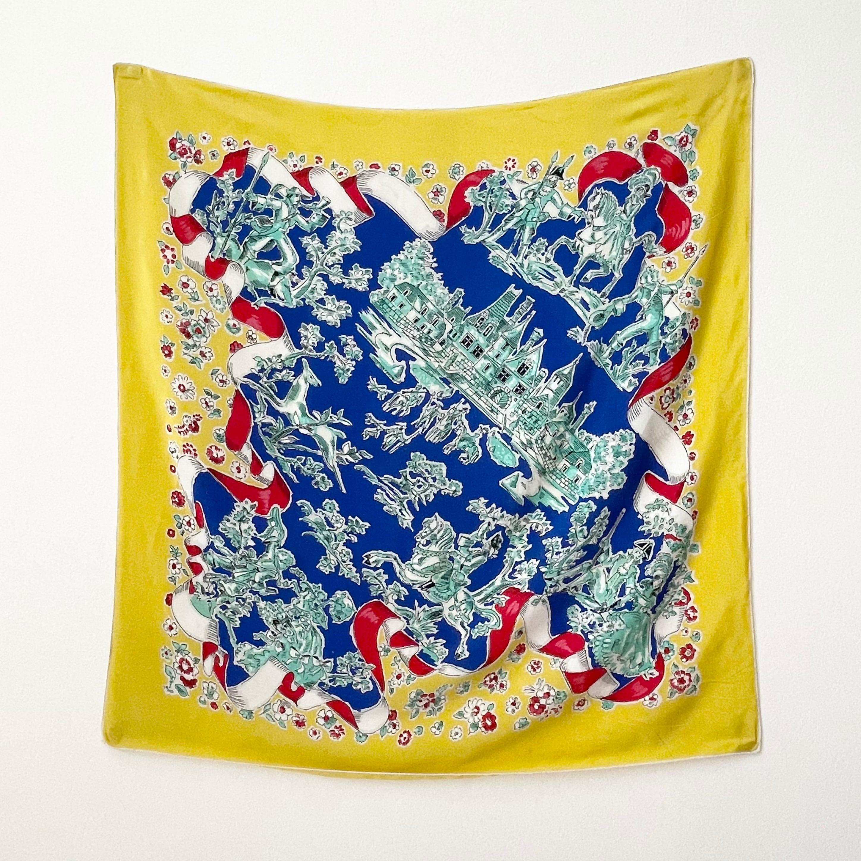 80〜90年代 ヴィンテージ シルク ヨーロッパ風景画 プリント スカーフ