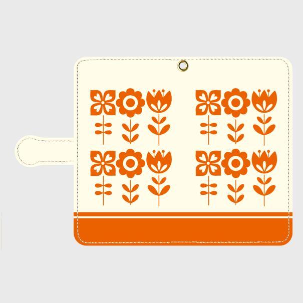 昭和デザイン花(橙)/ Androidスマホケース(手帳型ケース)