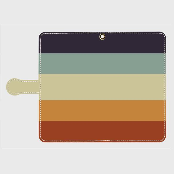 レトロストライプ(紺・水・薄緑・橙・赤) / Androidスマホケース(手帳型)