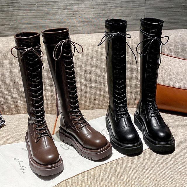 【シューズ】売り切れ必至 通勤 レトロ PU 丸トゥ ジッパー 編み上げ ロング丈ブーツ53741245
