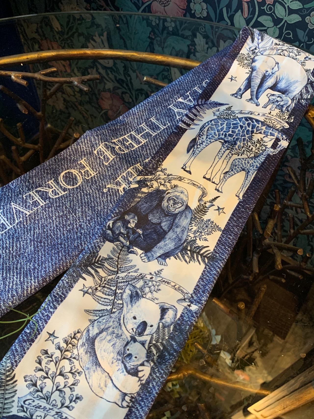 ◆即納◆ラブリーファミリー柄リボンスカーフ