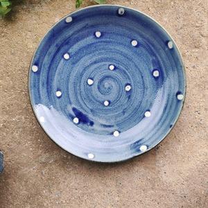 7寸洋皿一枚焼き/呉須蝋白抜き