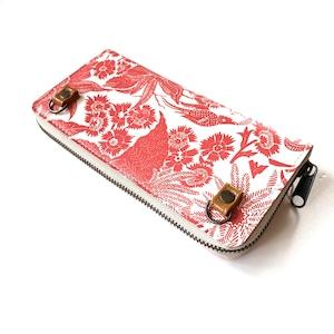 【ハシモト産業 x pink india】北欧デザイン ストラップホルダー付牛革ラウンド財布   paradise orange