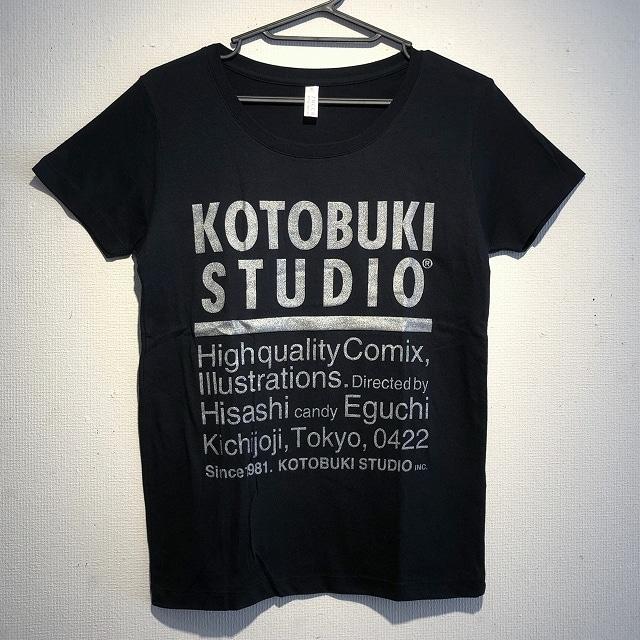 江口寿史 「KOTOBUKI STUDIO」レディースTシャツ(黒×銀字)クリアファイル付き( ※色は選べません)
