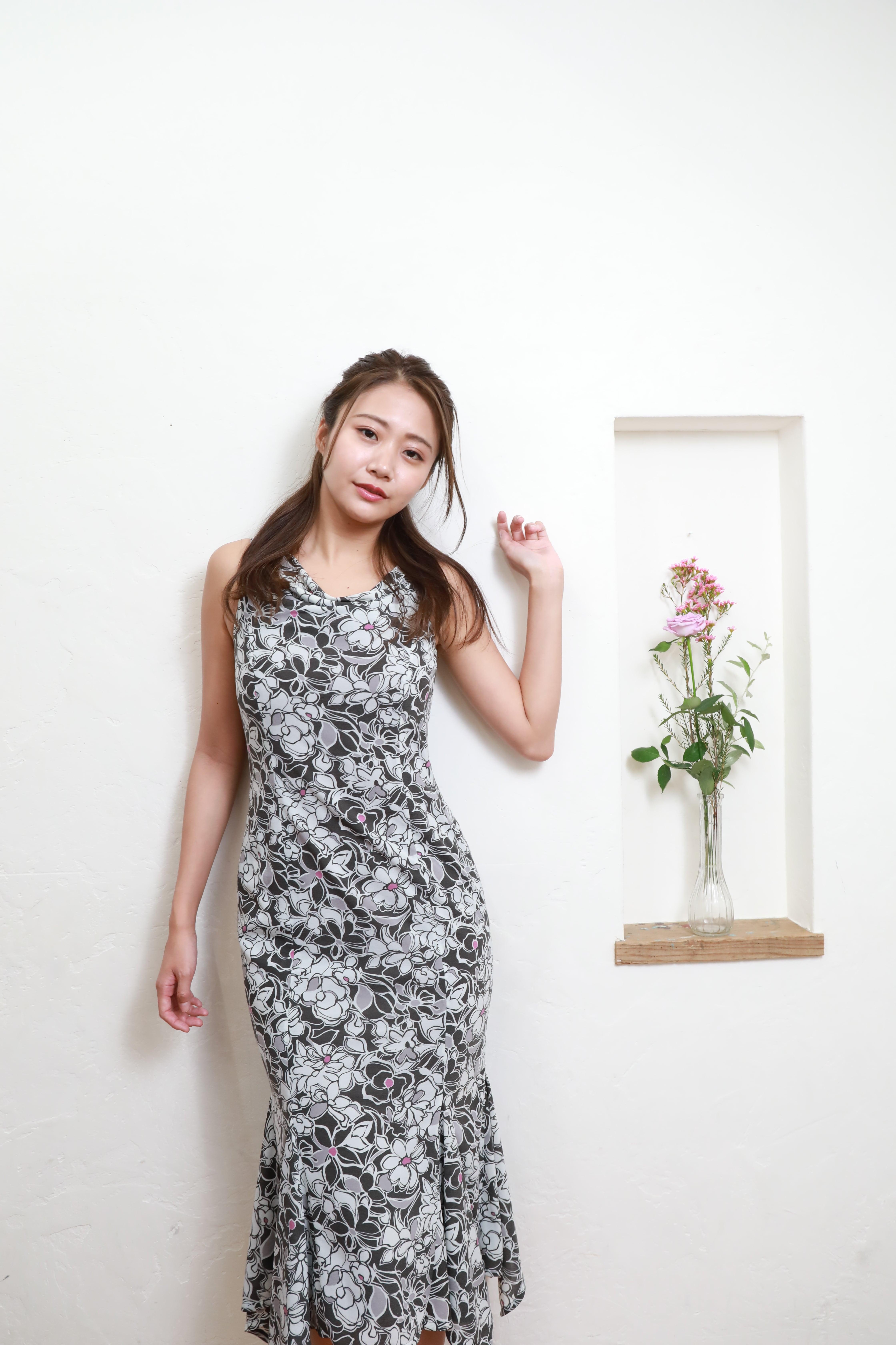 flower drape long dress GRY