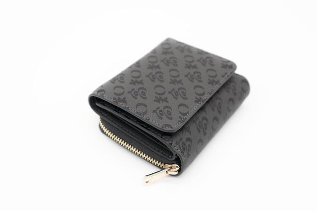 高知の三つ折り財布 グレーxブラック