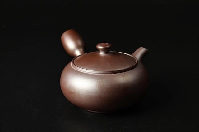 紫泥平丸無地急須 萬古焼(47038)