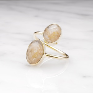 DOUBLE BIG STONE OPEN RING 006