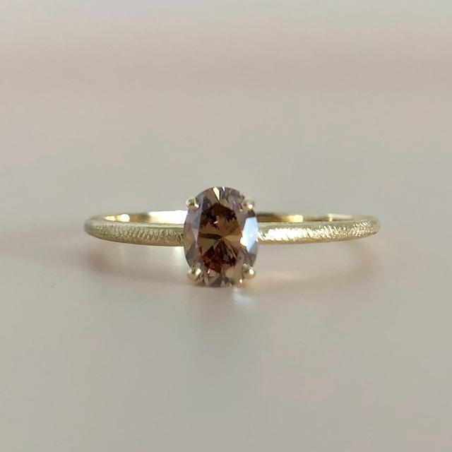 ブラウン オーバルカット ダイヤモンド リング 0.45ct K18イエローゴールド チェカ 鑑別書付