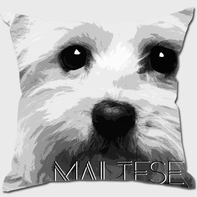 マルチーズ 【IMPACT -shirokuro- 犬 クッション】