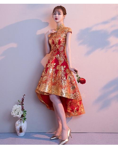 チャイナ風フィッシュテールドレス ショート丈 刺繡 着やせ 二次会 同窓会 パーティー お呼ばれ wb032