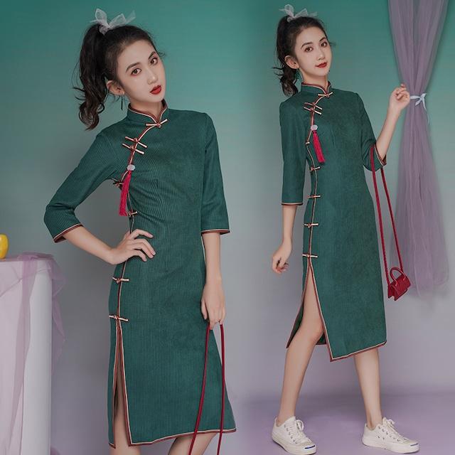 【吾家有衣シリーズ】チャイナドレス 緑 グリーン セーム革絨 大きいサイズ S M L LL 3L レトロ