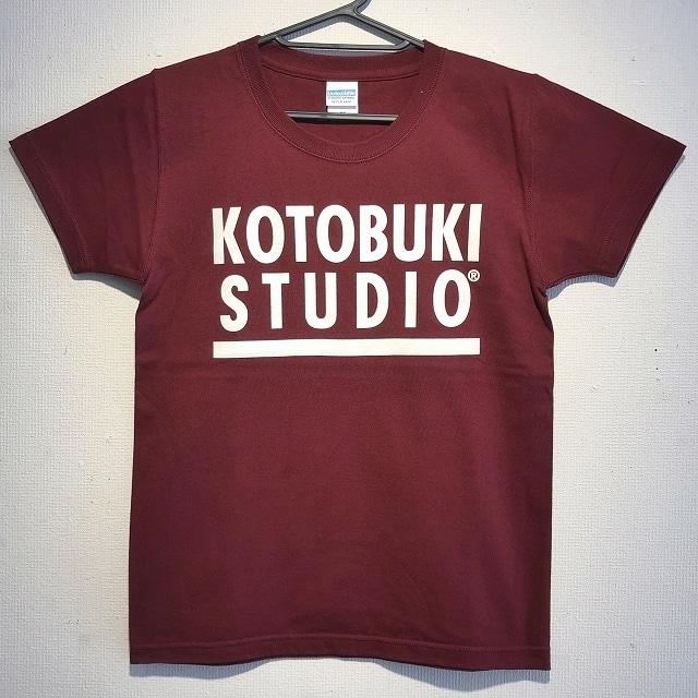 江口寿史 「KOTOBUKI STUDIO」Tシャツ(バーガンディ×白字)クリアファイル付き( ※色は選べません)