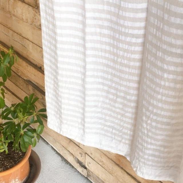 TOPANGA Homefurnishing  コットンボイル ホワイトオンホワイトボーダーカーテン W110×H180cm