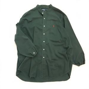 【USED】REMAKE Ralph Lauren ラルフローレン バンドカラーシャツ グリーン