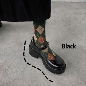 パンプス レディース メリージェーン 黒 ロリータ シューズ 靴 厚底 ミディアムヒール コスプレ靴  LOLITA レザーシューズ 革靴 7401