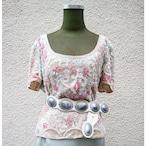 Beige & pink flower bijou tops