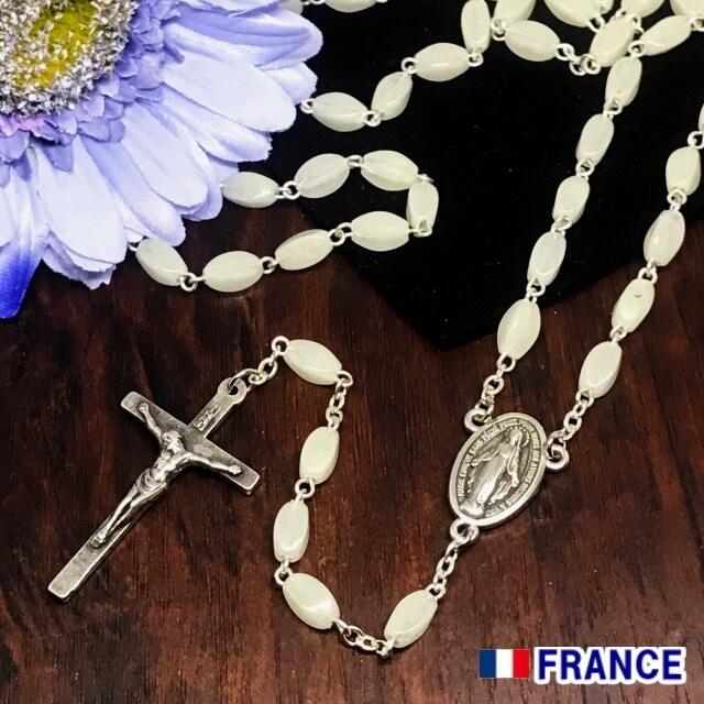 奇跡のメダイ教会正規品 ホワイトロザリオ ネックレス  不思議のメダイユ フランス製 聖母マリア カトリック聖品