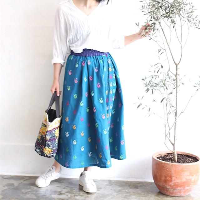 ミャンマーの手織り綿ギャザースカート【ダック柄ターコイズブルー】