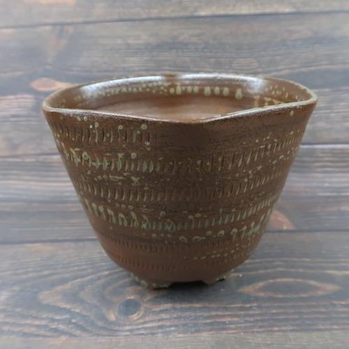 小石原焼 植木鉢 六角形飴色 トビカンナ 上鶴窯