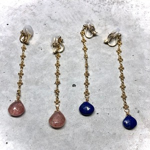 【LE-3BR】Lapislazuli design chain earring                                                                                       【LE-4BR】strawberry quartz design chain earring
