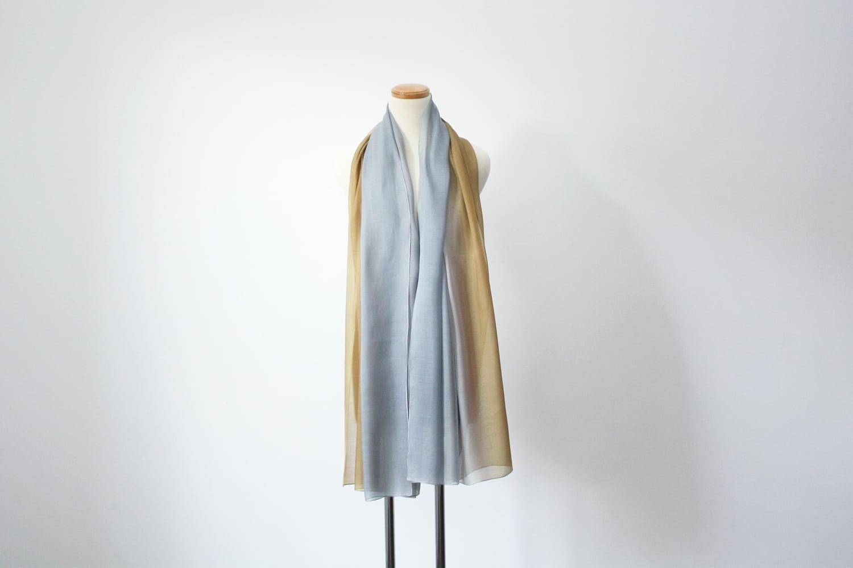 【オーダーメード】絹ショール シルバー×ゴールド