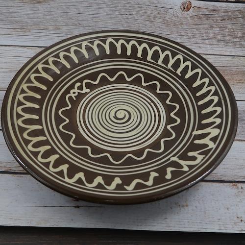 小鹿田焼 大皿 1尺2寸(直径370mm) 白紋様 茶  黒木才人窯