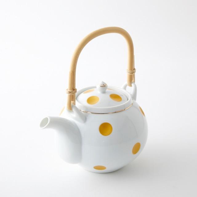 金ライン彫水玉 土瓶 (藤弦)