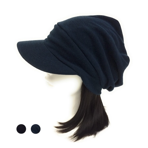 "Unisex ニットキャスケット"" 大人用 つけ毛付き:wig/ミディアムロング/フリー M~L"