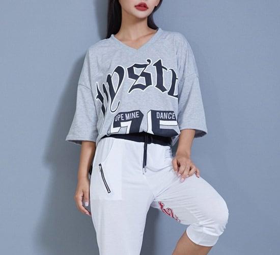 233 5分袖オーバーサイズTシャツ(グレー)