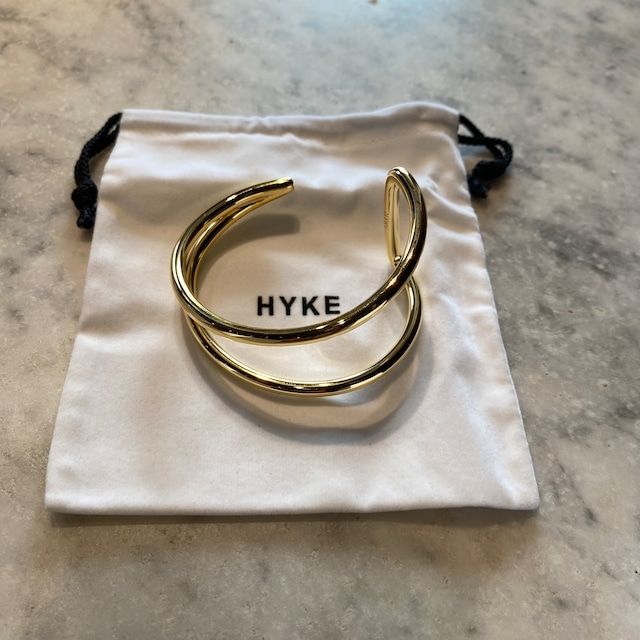 HYKE【ハイク】 DOUBLE LINE BANGLE (19197 / GOLD).