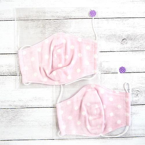 【Ranunculus】立体布マスク(水玉ピンク)・キッズ~レディースサイズ/マスク