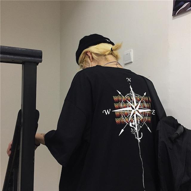 【トップス】ストリート系半袖ラウンドネックアルファベット幾何模様プリントTシャツ43008954