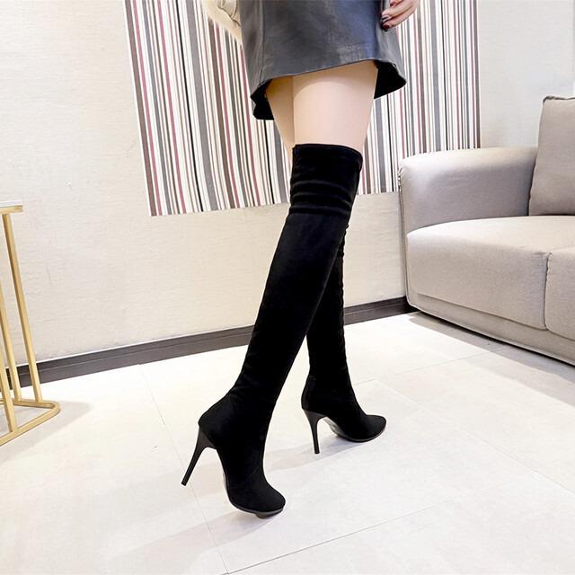 【シューズ】ファッションポインテッドトゥ無地ハイヒールロング丈ブーツ25970386