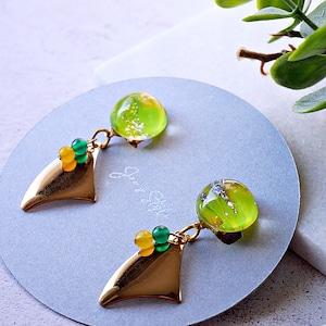 """ Earrings NO.0-1870 ″ ネオンペイント&天然石"