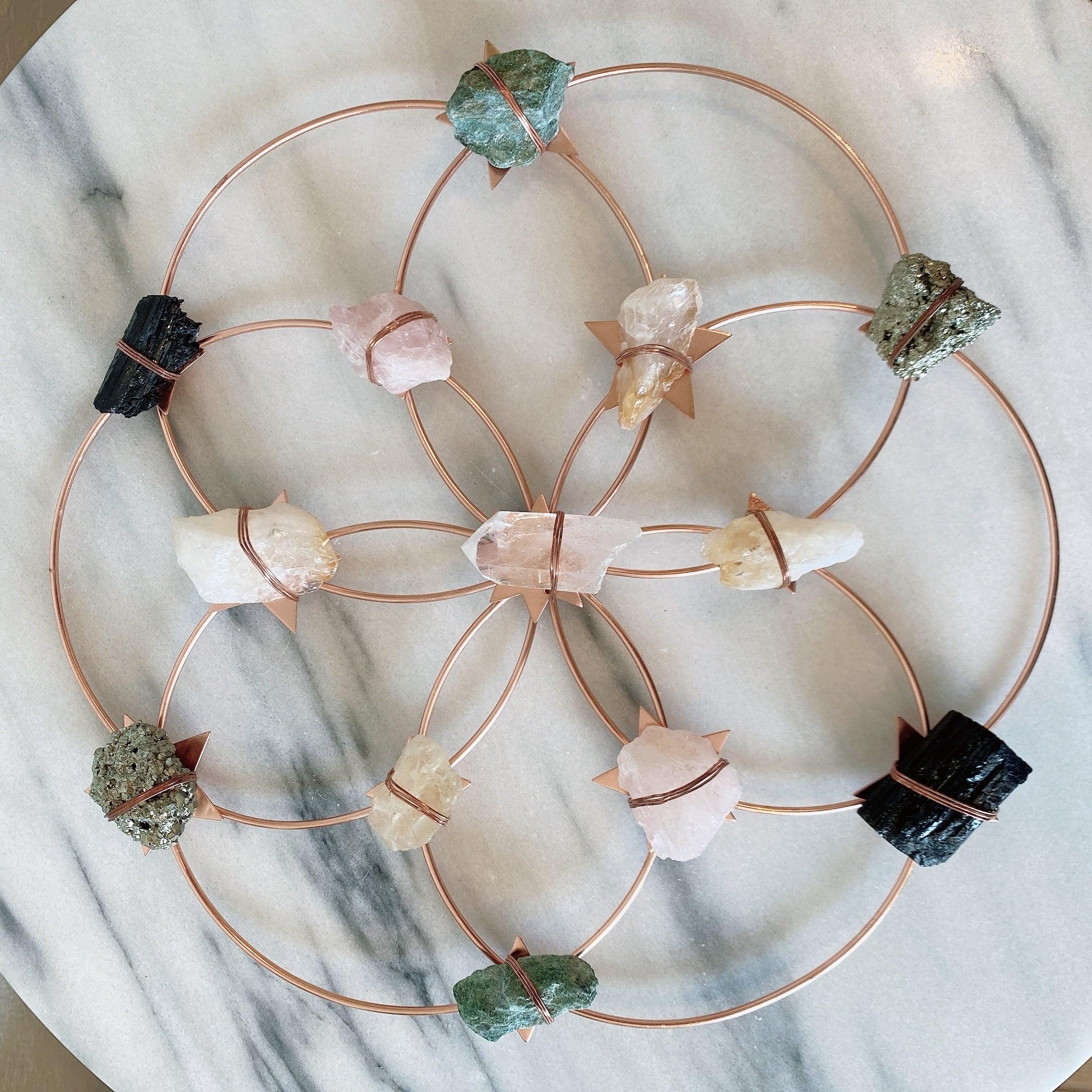 Ariana Ost Flower Of Life Healing Crystal Grid - Rose Gold Rainbow - Large クリスタルグリッド フラワーオブライフ ローズゴールド