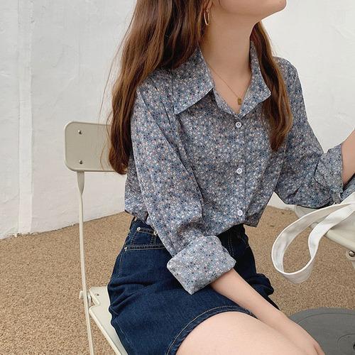 ポロカラーレトロフラワーシャツ U6148