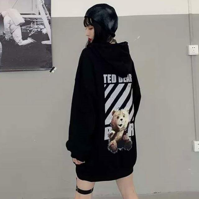 【トップス】カジュアル暗黒系ファッションクマ図柄シンプルパーカー33869653