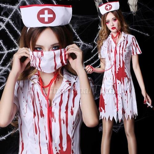 予約 コスプレ服 ゾンビナース制服 ホラー ハロウィン 衣装 コスチューム レディース 大人 可愛い 恐い 血まみれ 仮装 イベント 看護師 病院 ゴースト お化け おばけ hw45