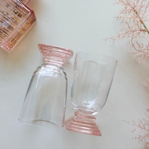 pink square glass cup / ピンク スクエア ガラス コップ グラス 韓国 雑貨