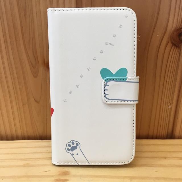 ブルーなハートを包み込む。猫の手帳型iPhoneケース