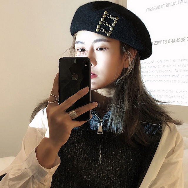 【GREENシリーズ】★レディース帽子★ ベレー帽  キレイにかぶれる エレガント ファション ブラック 黒い