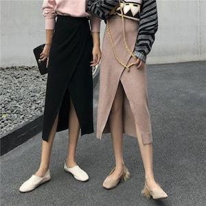 ミモレ丈ラップ風スカート