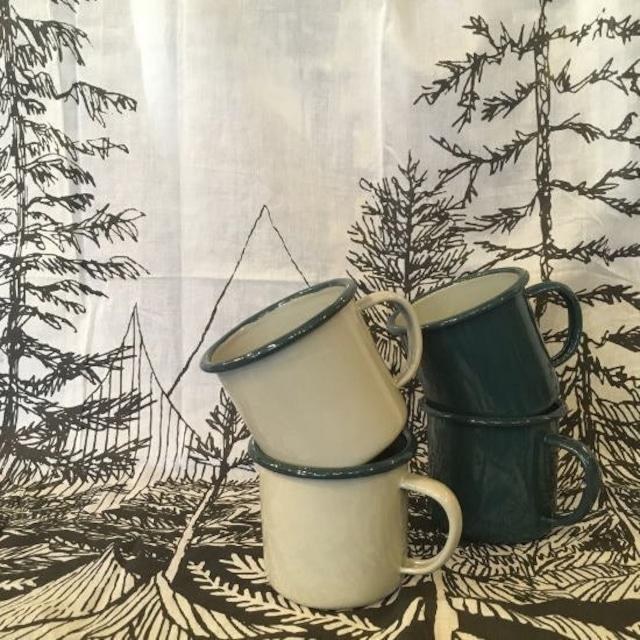 グリーンリム ホーローマグカップ