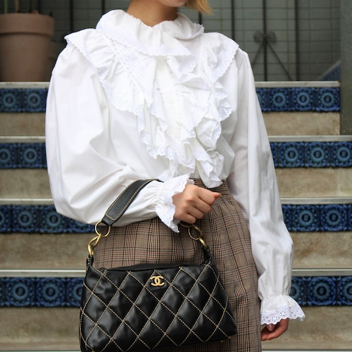 FRENCH VINTAGE FRILL BLOUSE/フランス古着フリルブラウス