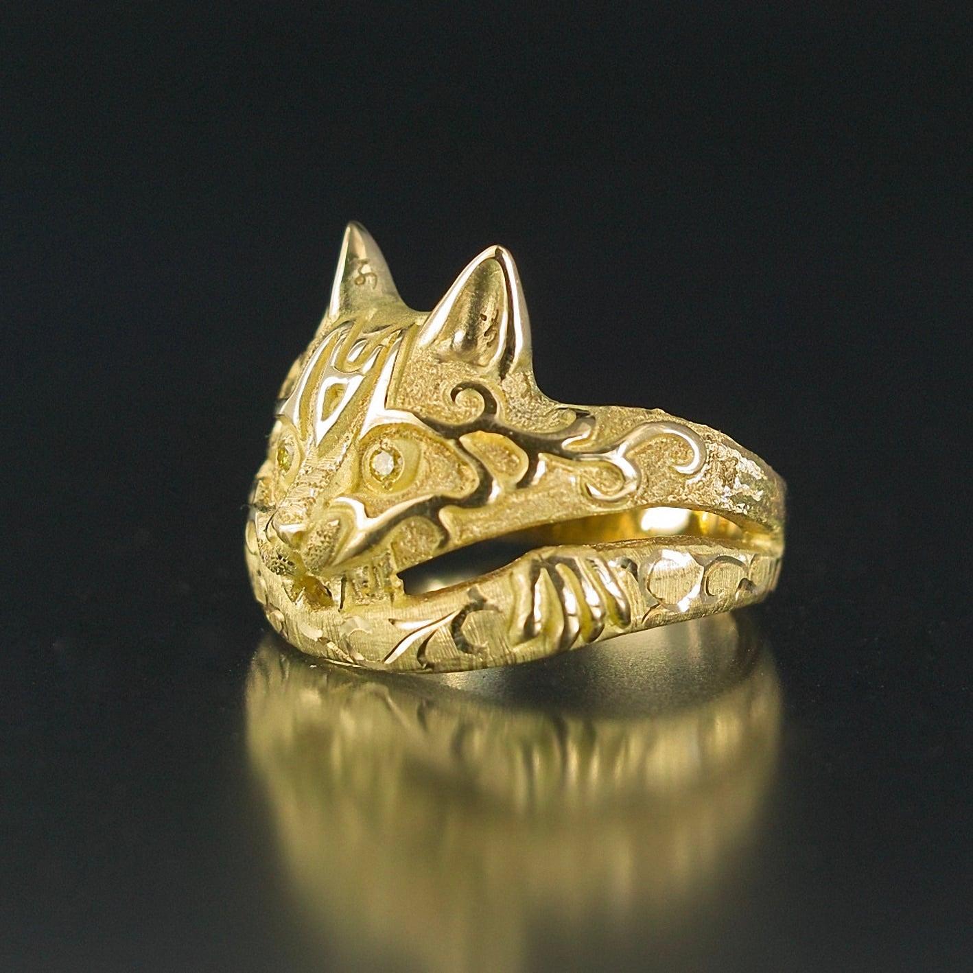 受注制作|妖怪ジュエリー 妖怪指輪 『 猫又 』 18金*非加熱イエローダイヤモンド