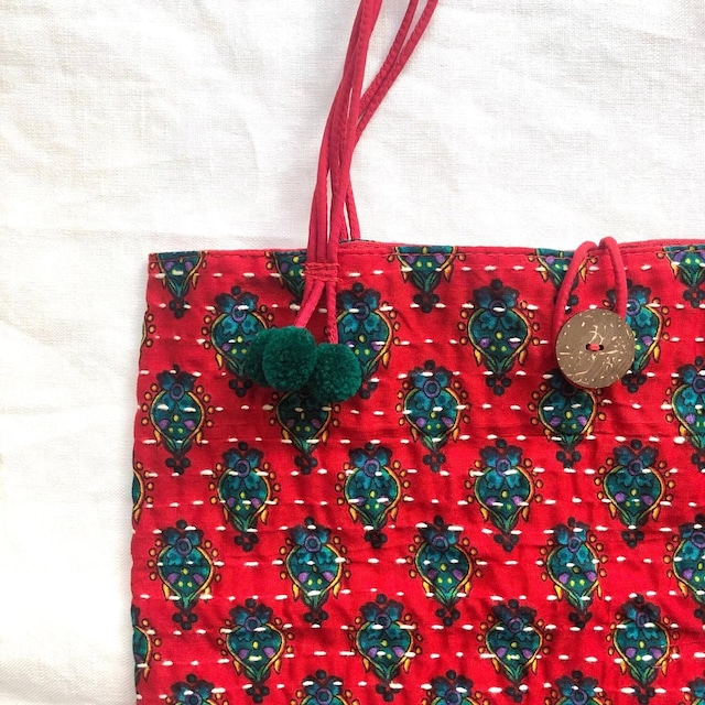 タイの刺し子トートバッグ〈赤/4種〉
